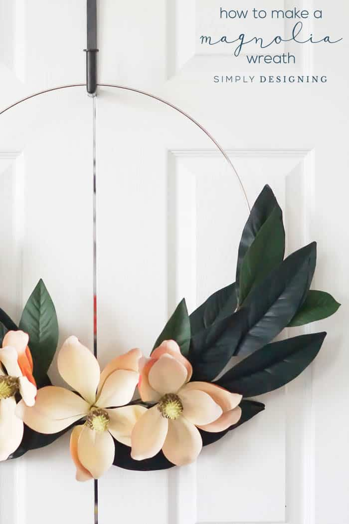 How to Make a Magnolia Hoop Wreath - step by step instructions on how to make this Farmhouse Wreath