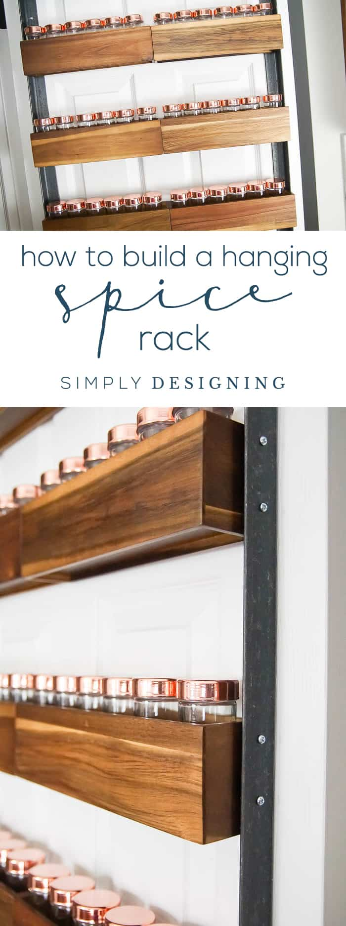 How to Build a DIY Spice Rack - a fun industrial hack to turn pretty wood spice racks into a hanging spice rack perfect for the back of your pantry door