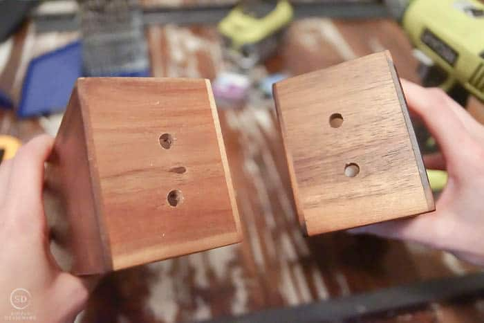 Drill holes into spice rack
