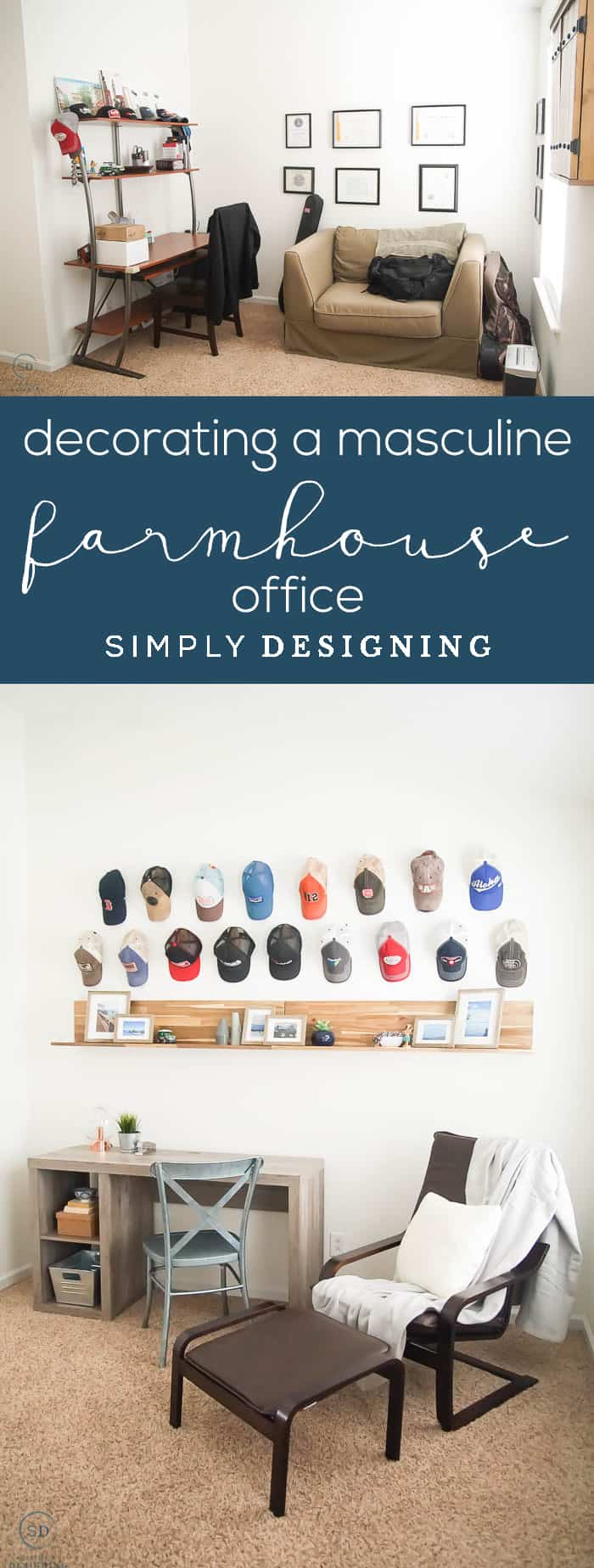 Decorating a Man's Office with Farmhouse Design - before and after - farmhouse office - masculine office - farmhouse desk - industrial farmhouse decor