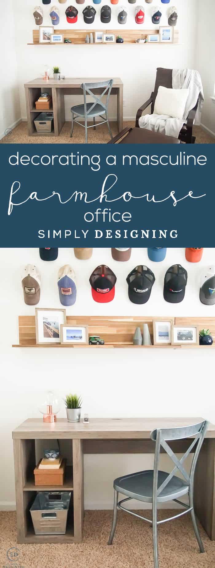 Decorating a masculine Farmhouse Office - mans office - farmhouse design - industrial farmhouse decor - man cave