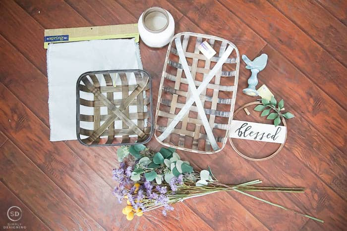 Farmhouse Decorating with Tobacco Baskets - supplies