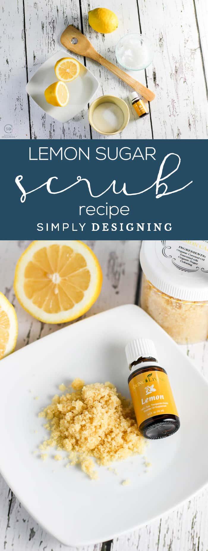 Lemon Sugar Scrub Recipe - 4 ingredient DIY Sugar Scrub