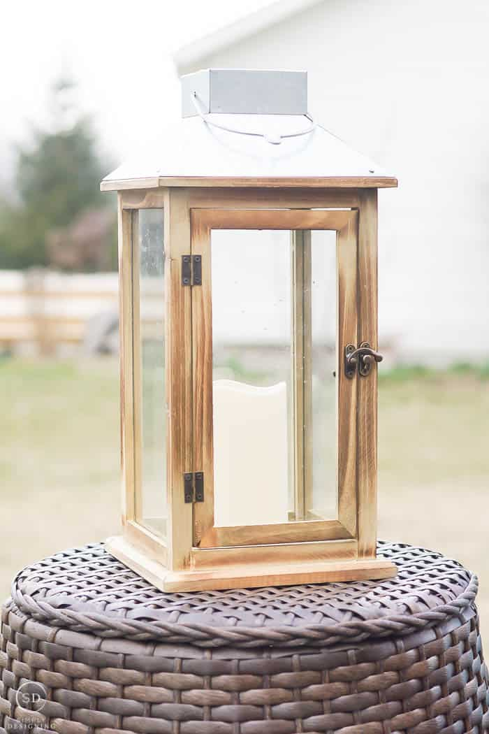 Solar Lantern with wood sides and a metal top - outdoor living with an easy backyard fire pit