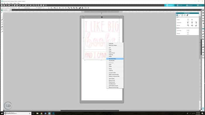 Silhouette Studio mirror text - flip text horizontally