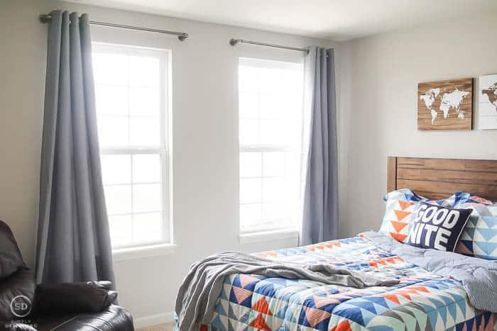 Boy Bedroom Makeover with geometric comforter - #ad #BHGLiveBetter #BHGatWalmart @BHGLiveBetter