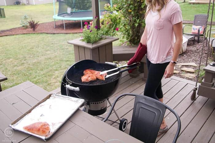 Sear chicken on grill