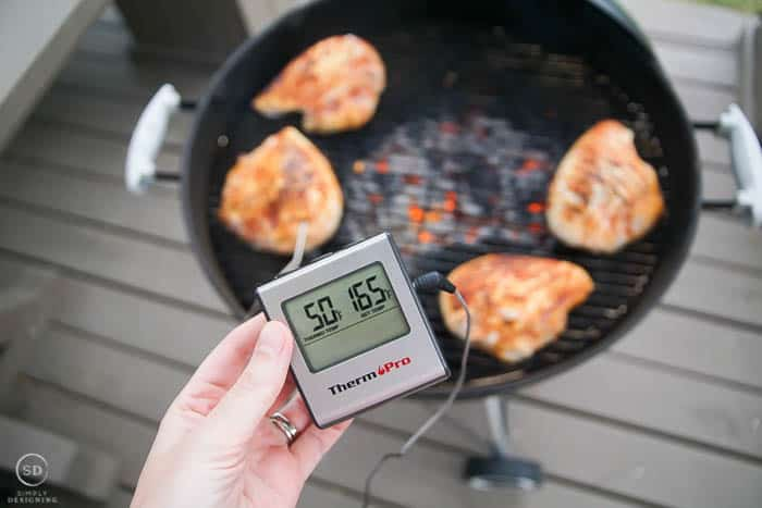 move chicken to side of grill and use thermometer