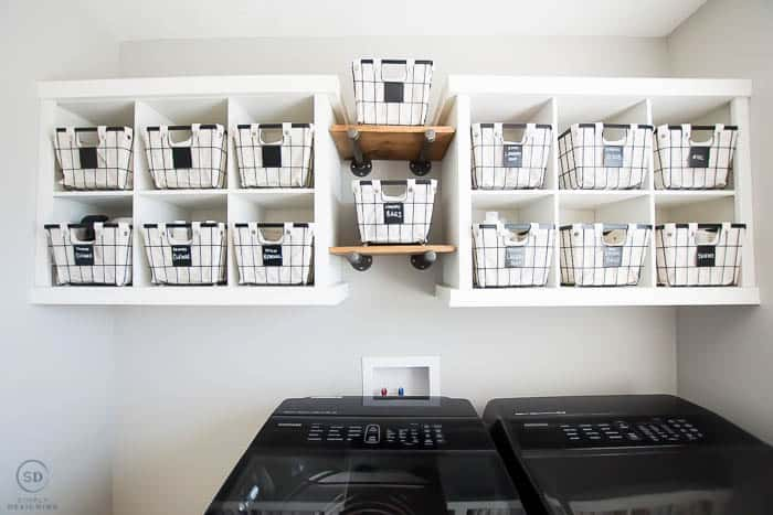 Wire basket storage in a laundry room