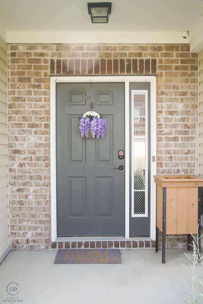 Ugly green door before - how to paint a front door