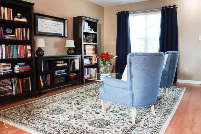 beautiful front room makeover turned into a reading room