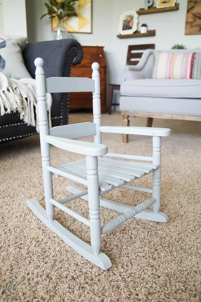 How to Repaint Furniture without Sanding - grey childs rocking chair