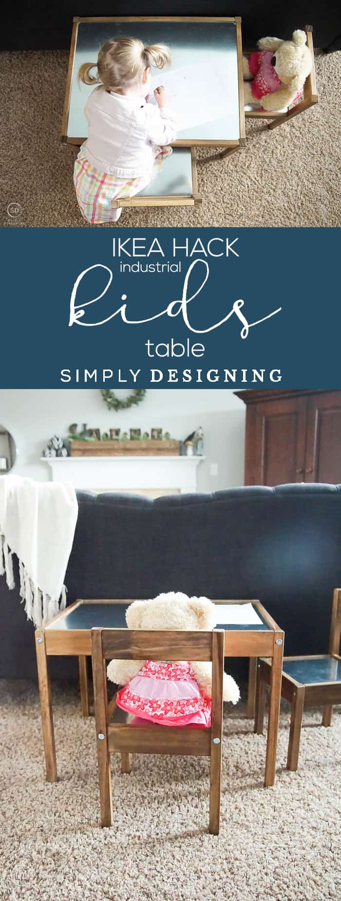 IKEA Hack - Industrial Kids Table - learn how to turn an ordinary LATT kids table and chairs into a beautiful farmhouse kids table