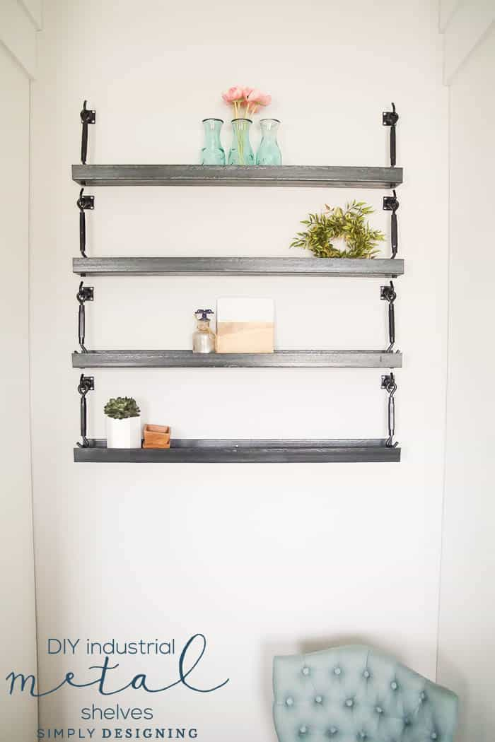 How to Make Industrial Metal Shelves - u channel shelves - steel channel shelves - metal shelves - diy metal shelves