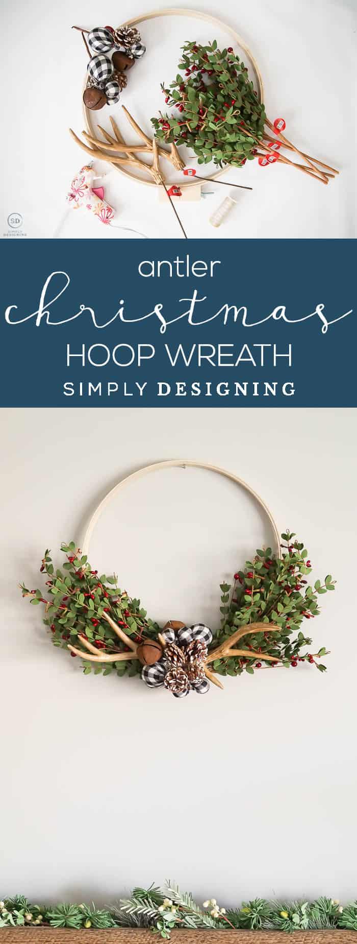 Antler Christmas Hoop Wreath - a really easy and beautiful farmhouse hoop wreath for the holidays