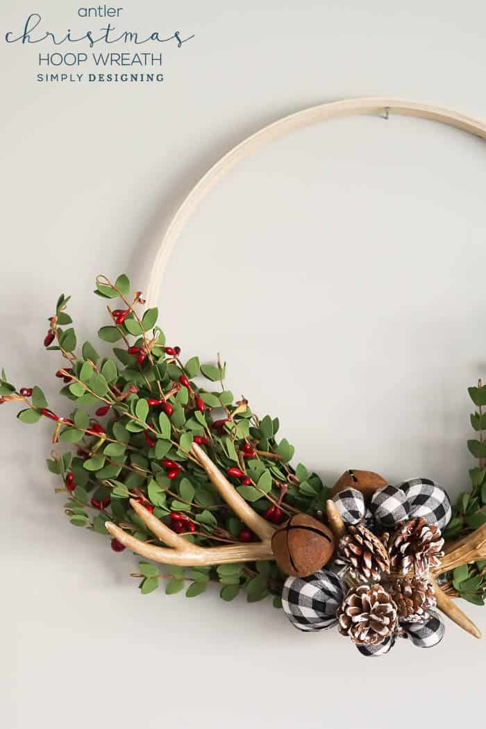 Antler Christmas Hoop Wreath - an easy to make beautiful farmhouse wreath