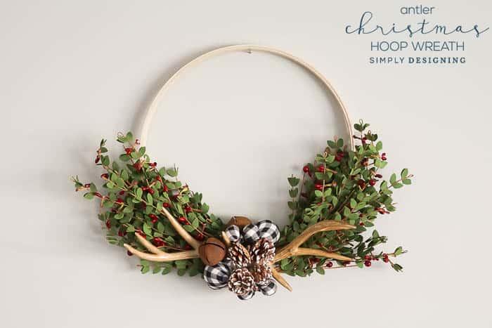 Antler Christmas Hoop Wreath - farmhouse christmas wreath