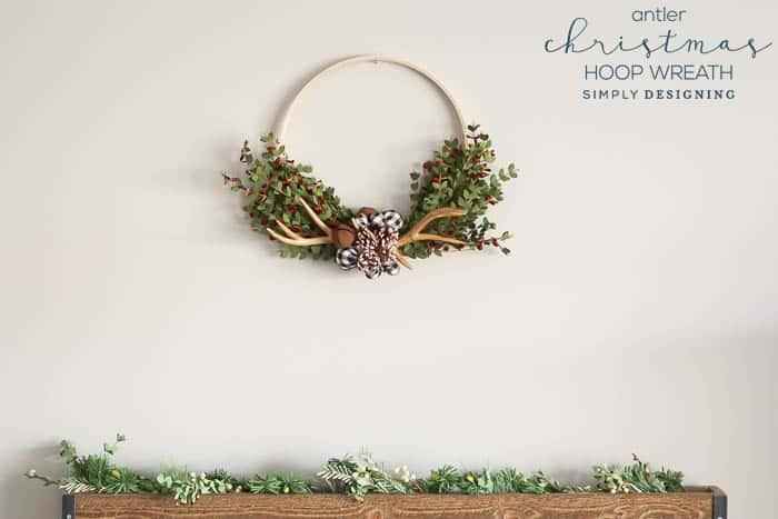 Antler Christmas Hoop Wreath