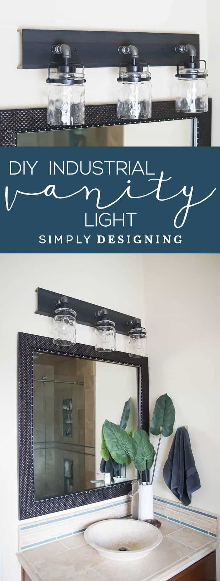Industrial DIY Vanity Light - this amazing vanity light is easy to make and makes a beautiful statement in your bathroom - DIY Industrial Light