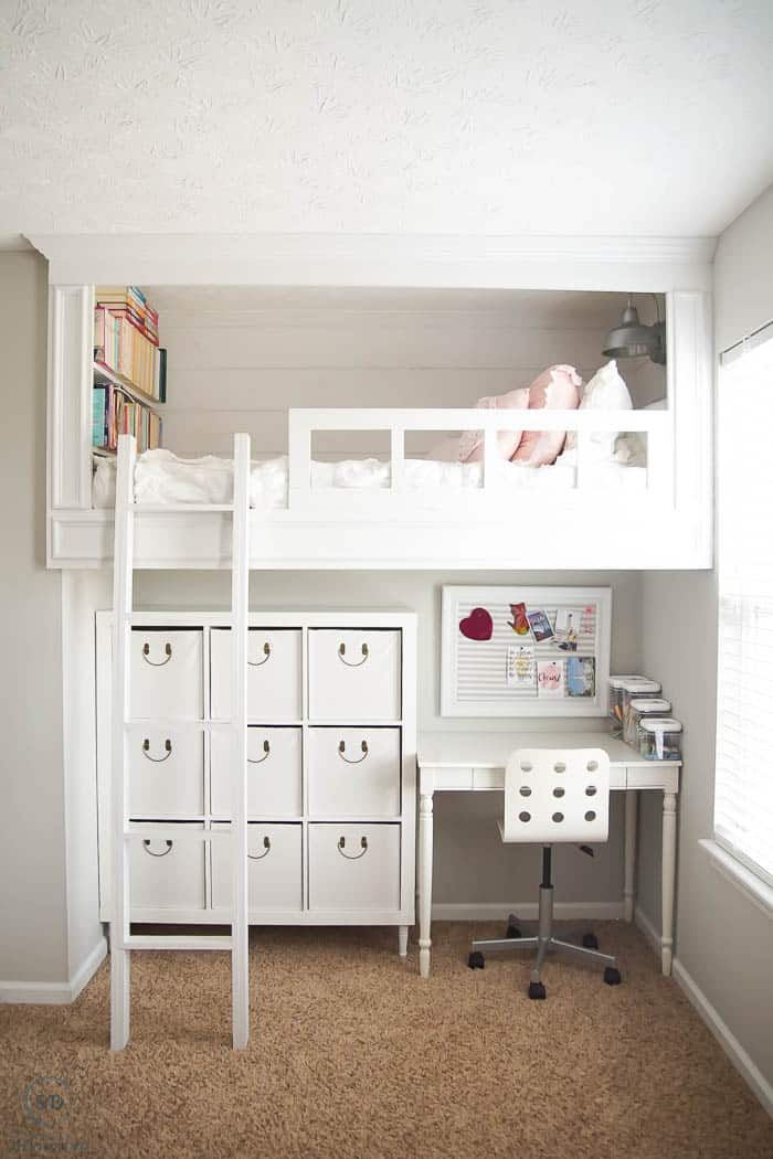 Girls Bedroom with Loft Bed and Under Bed Storage and Desk