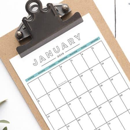 FREE 2019 Printable Calendar 1