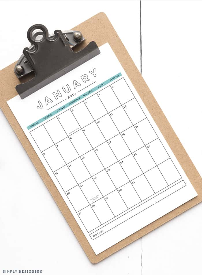 Oranize your month with this Free 2019 Printable Calendar - It is beautiful modern an is incredibly functional and is yours to use for FREE