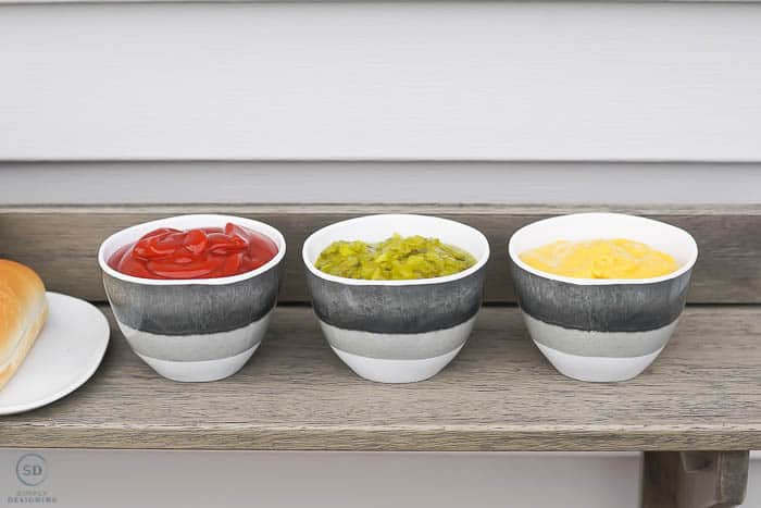 condiments in cute melamine bowls
