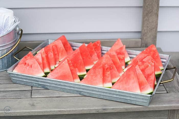 watermelon on galvanized tray