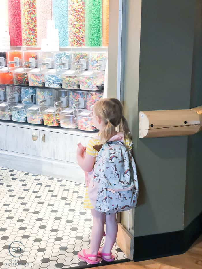 looking into the candy company store at great wolf lodge