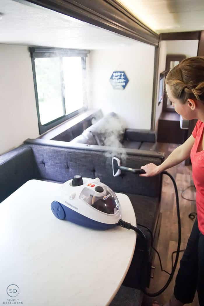 steam clean upholstery in an rv travel trailer