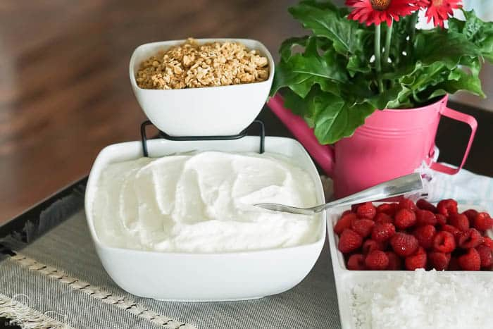 chip and dip stand used for yogurt parfait bar