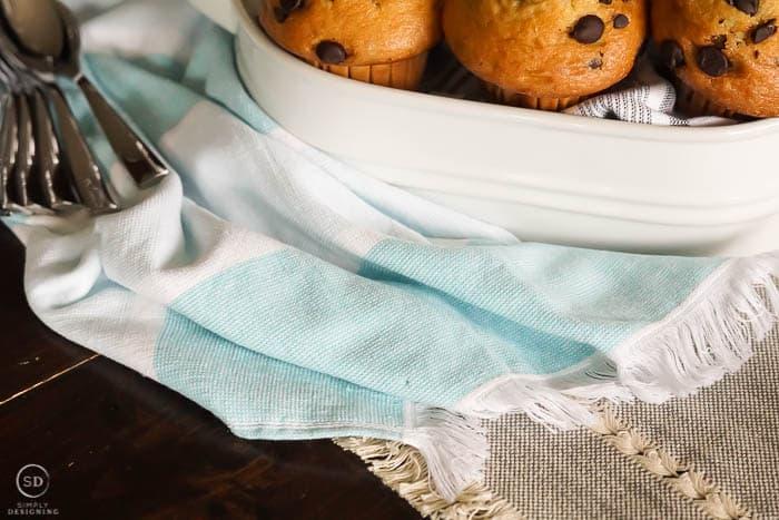 beautiful aqua kitchen towels