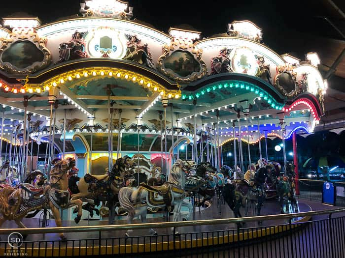 Carousel at Hershey Park at night with lights