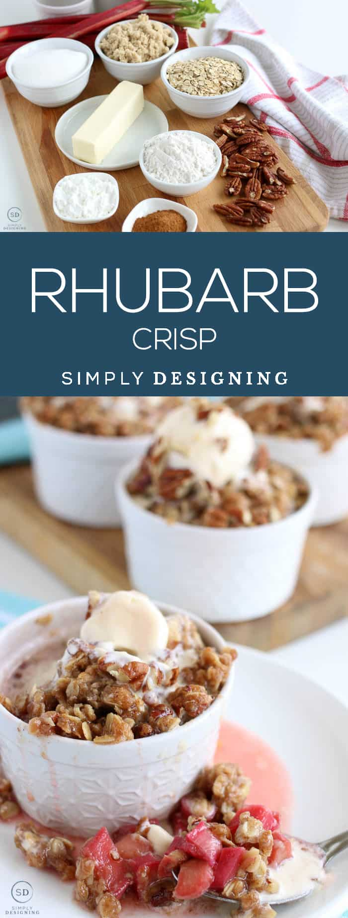 Rhubarb Crisp - This rhubarb crisp recipe is delicious forgiving and so simple - You can even adapt these into a rhubarb crisp bars recipe