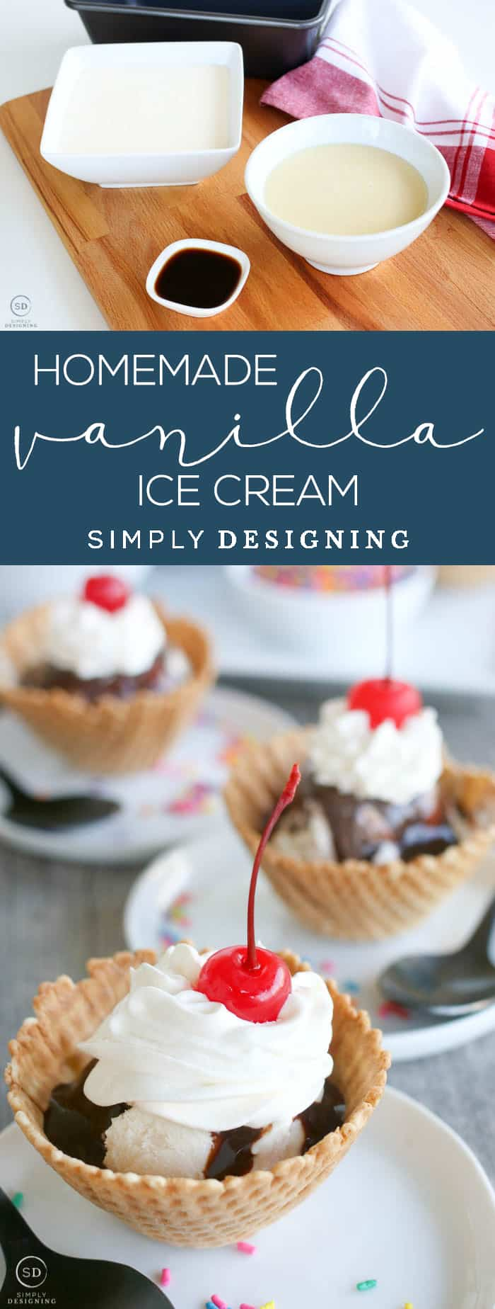 Homemade Vanilla Ice Cream - There's never a bad time for homemade ice cream, right?! This no churn ice cream recipe is super simple, takes just three ingredients, and is quite possibly the most delicious homemade vanilla ice cream I've ever tasted.