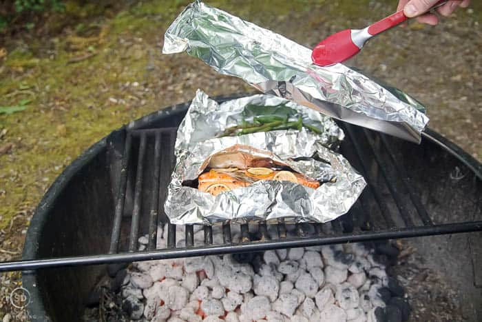place tented foil over salmon