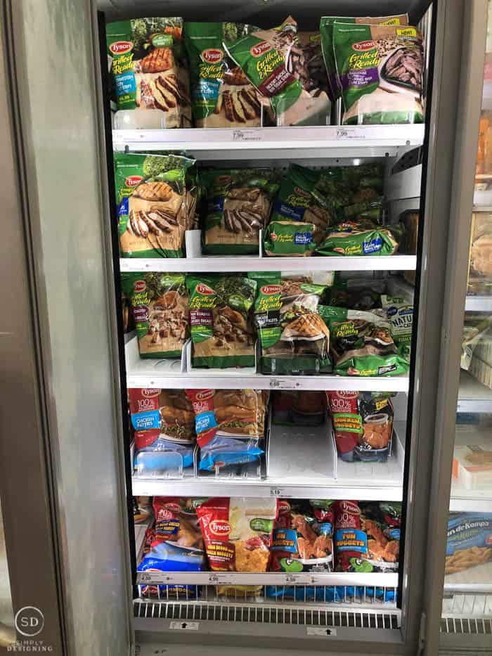 in store frozen food aisle