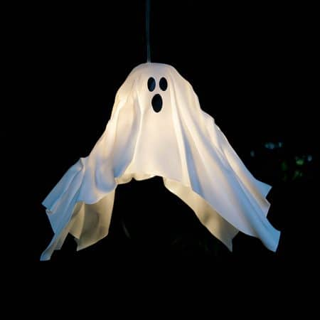 DIY Hanging Ghost Lantern turned on and hanging up at night