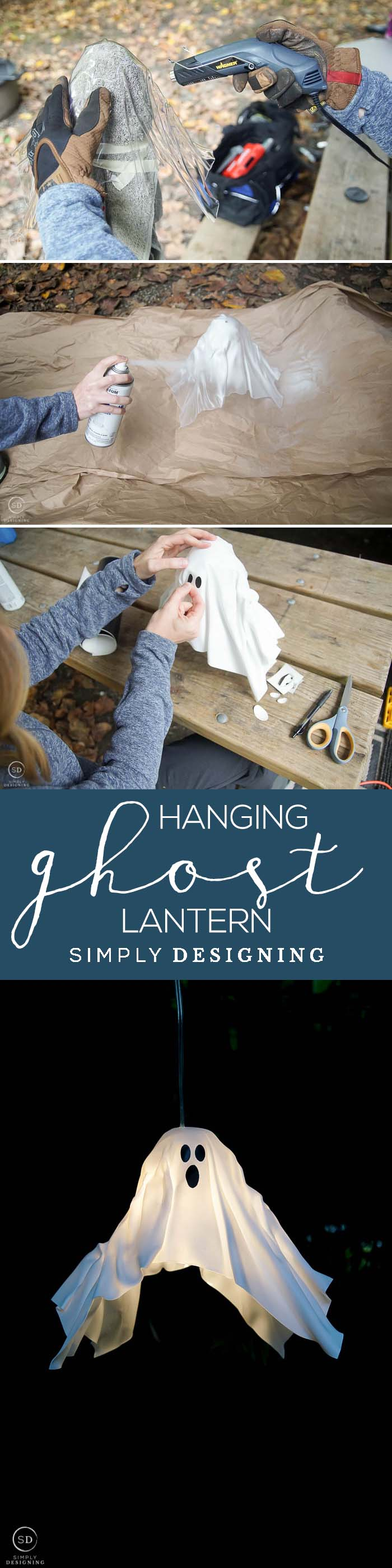 This DIY Hanging Ghost Lantern is the perfect Halloween project that will light up your yard with cute spookiness