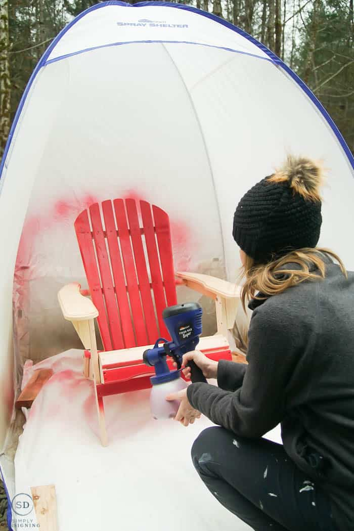 paint wood chair red