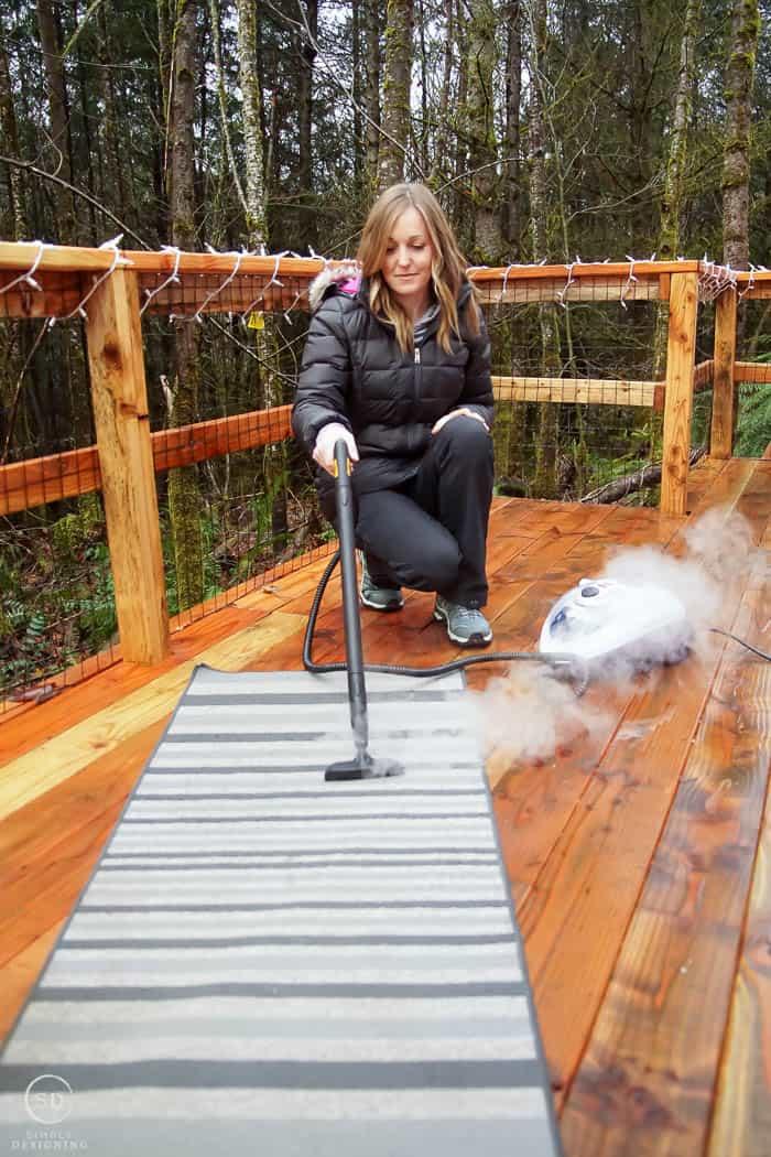 steam clean a rug with steammachine