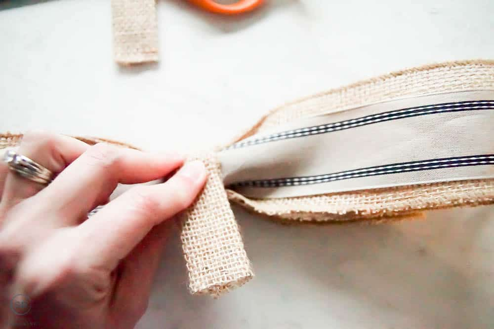 add middle ribbon pieces to bow and glue in place