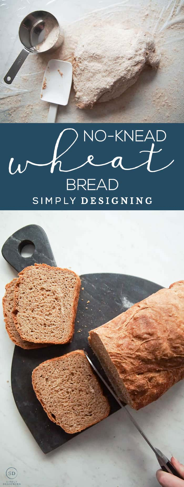 This Whole Wheat No Knead Bread is a fail proof bread recipe that is so simple to make only takes about 5 minutes of hands-on time