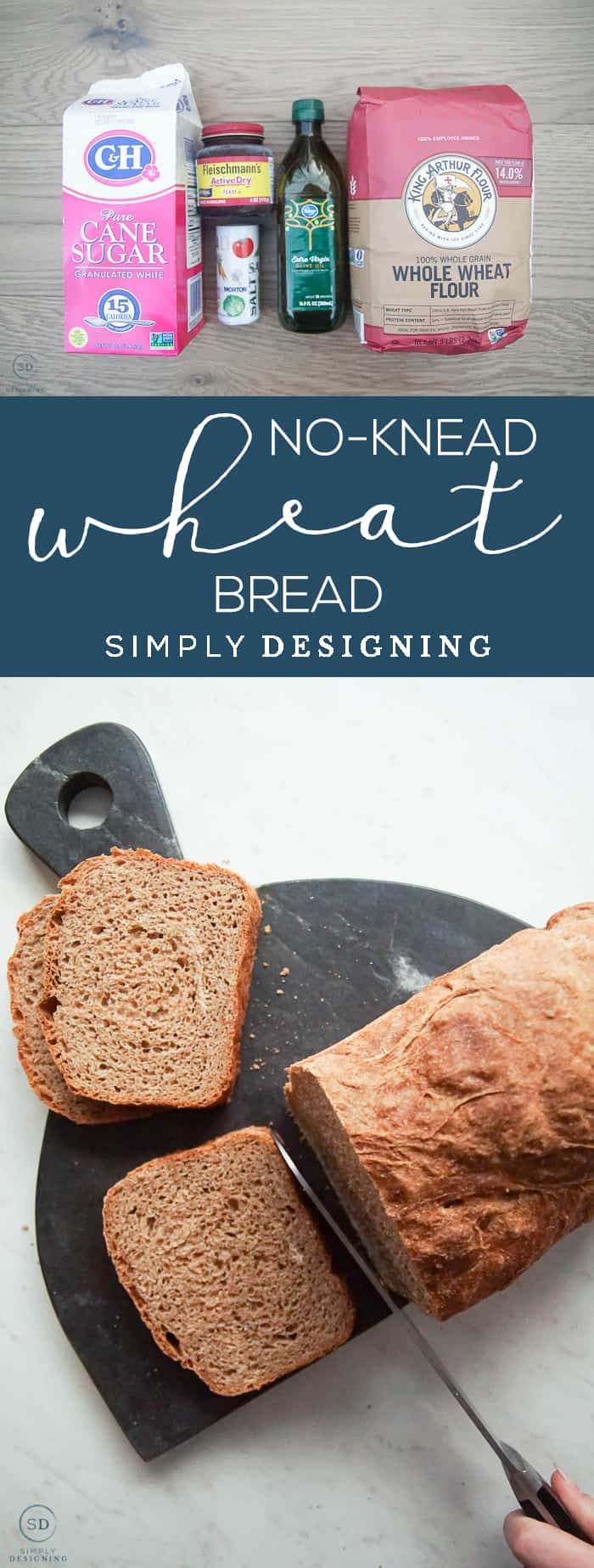 This Whole Wheat No Knead Bread is so simple to make only takes about 5 minutes of hands-on time and is so light fluffy and delicious