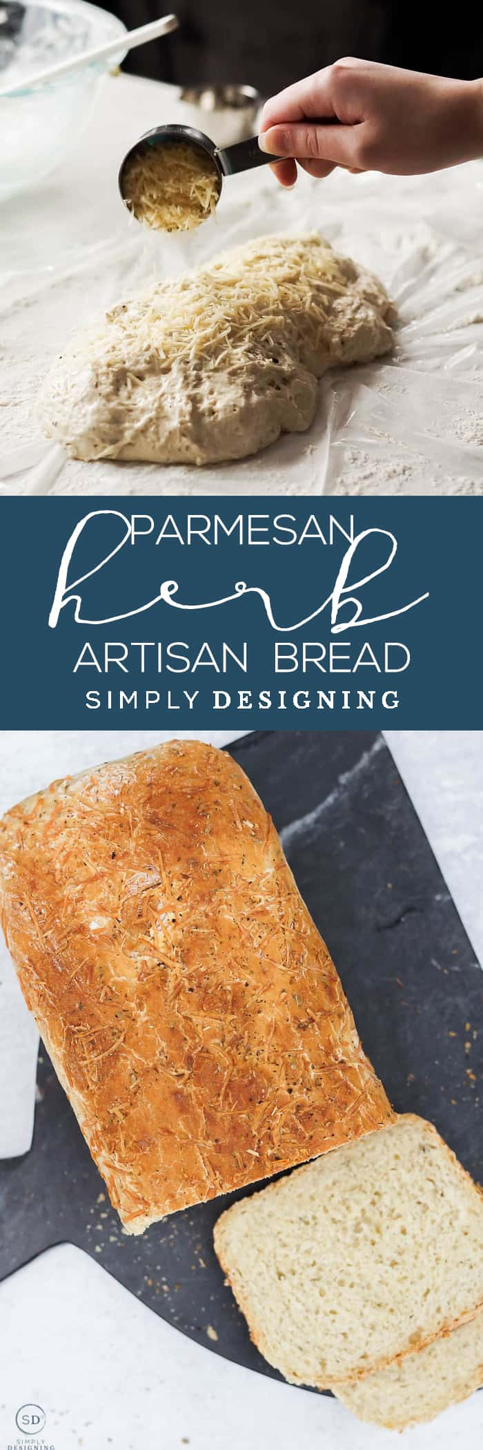 This easy Parmesan Herb Artisan Bread is scrumptious and so easy to make - It only takes 5 minutes of hands-on time and tastes just like restaurant bread