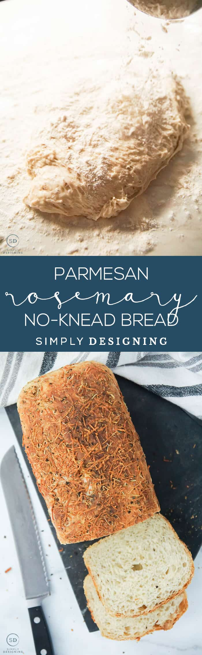 This no-knead Parmesan Rosemary Bread is simply delicious - It only takes about 5 minutes of hands-on time to make and is such a fluffy artisan bread
