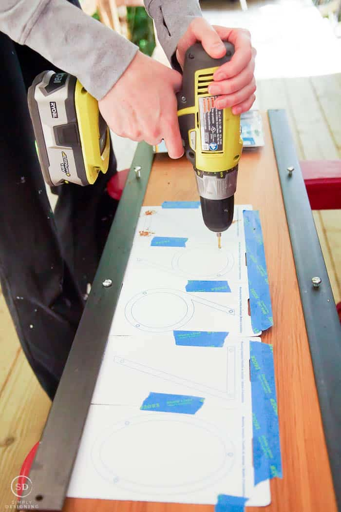 drill holes for address numbers