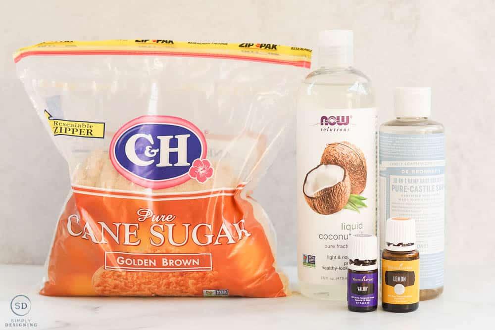 brown sugar coconut oil castile soap and valor and lemon essential oils