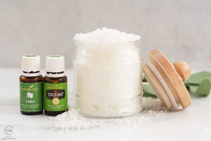 Salt Scrub - Salt Body Scrub with essential oils in a glass jar with wood lid