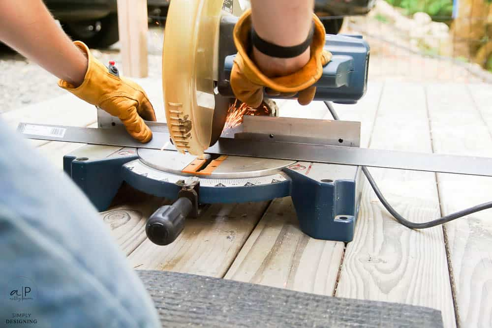 cutting angle iron with a compound miter saw and a metal cut off blade